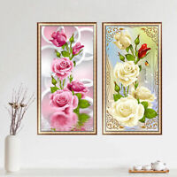 5D DIY Diamond Cross Stitch Kit,Rose flowers Embroidery Print Kits