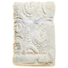 Kyle & And Deena Baby Boy/Girl Layette Elegant Ivory Paisley Fur Mink Blanket
