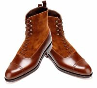 MEN HANDMADE SUEDE & LEATHER SHOES TWO TONE CAP TOE LACE UP FORMAL DRESS BOOTS