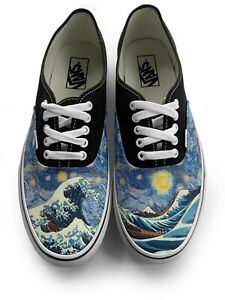 Great Wave Starry Night Authentic Laced Vans Brand Shoes