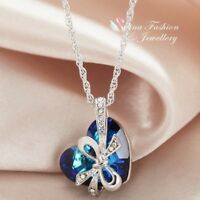 18K White Gold Filled Made With Swarovski Element Bow-knot Heart Teal Necklace