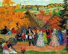 Russian Fall Art Autumn Holiday in the Village by Boris Kustodiev 8x10 Print 530
