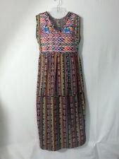VTG Long Dress Guatemala Aztec Huipil Top People Embroidery Slvles Boho Hippy XL