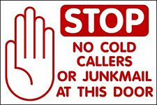 no cold callers junkmail sign