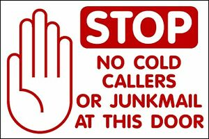 no cold callers junk mail sign