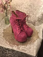 Jeffrey Campbell Lita Boots Pony Fur Pink With Black  Sz 8M EUC