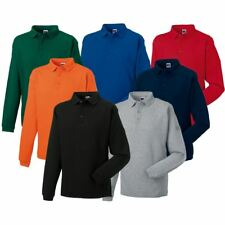 Russell Mens Polo Sweatshirt Brushed Fleece Heavy Duty Workwear Warm Cotton Rich