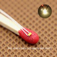 20 Stk. SMD LED warmweiss Bauform 0402 +Microlitze 20cm warm white NEU