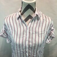 Beach Lunch Lounge Women's Women's Red White Blue Button Down Blouse Small II10