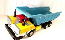 VINTAGE JAPANESE TIN TOY DUMP TRUCK 1960'S FRICTION DRIVE- AUTOMATED DUMPING!