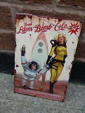 "Atom Bomb Cola Vintage Look Large 12"" x 8"" Tin Sign Man-Cave"