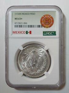1934M MEXICO SILVER UN PESO NGC MS63+