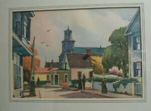 """RICHARD CLARKE HARE LITHO.CIRCA 1935 ,""""A STREET IN OLD PROVINCETOWN"""""""