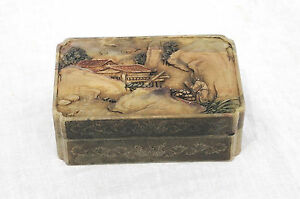 Nice  Hand  Carved  Chinese  Shou-Shan  Stone  Box