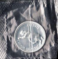 1967 Canadian Silver 25 cent Centennial Bobcat Coin - superfleas - in PL bag