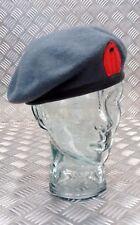 Genuine British Military QARANC Blue Grey Wool Beret Red Tear Drop Tab - New