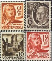 Franz. Zone-Württemberg 14-15,17-18 postfrisch 1948 Persönlichkeiten und Ansicht