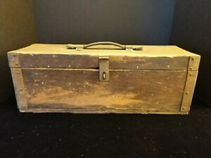 Antique Primitive Carpenters Old Wooden Tool Chest Box Trunk  Leather Handle