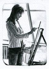ACEO PRINT TIRAGE SIGNE NU FEMININ AQUARELLE 150138 Watercolor Female Nude Study