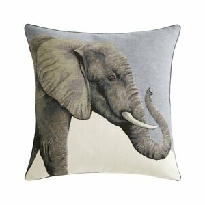 DJUMBE BY IOSIS PARIS, DECORATIVE TAPESTRY SQUARE PILLOW WITH ELEPHANT PORTRAIT