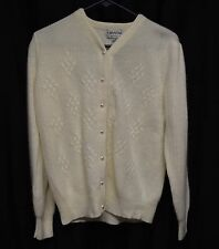 Womens Sweater Size L By Crystal  White Button Up Lambswool Angora Rabbit Hair