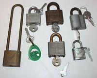Huge Assorted Lot of 6 Vintage Padlocks w/ Keys Slaymaker Yale Master Lock