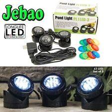 JEBAO PL1LED-3PS SUBMERSIBLE LED POND LIGHT WITH PHOTOCELL SENSOR, SET OF 3 NEW