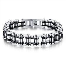 Black Silver Motorcycle Bike Chain Design Stainless Steel Fashion bracelet 8.5''