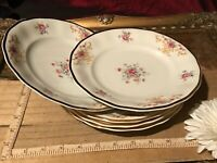 5 Favolina Poland 9025 Bread Butter Dessert Plate Floral Gold Rim China 7 3/8""
