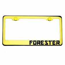 Gold Chrome License Plate Frame FORESTER Laser Engraved Metal Screw Cap