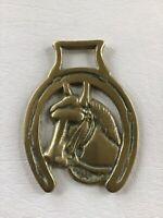 "Horse Head inside Good Luck Horseshoe 3"" Vintage Horse Brass Harness Medallion"
