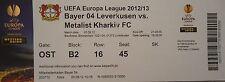 TICKET UEFA EL 2012/13 Bayer Leverkusen - Metalist Kharkiv