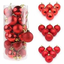 24X 30-80MM CHRISTMAS TREE BAUBLES XMAS DECORATION BAUBLE SHATTERPROOF GLITTER