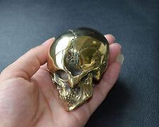 Handmade Fine Copper Brass Lost wax Casting Mini Human Skull Hand Polished  EDC