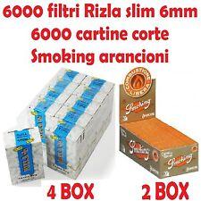 6000 FILTRI RIZLA SLIM 6mm + 6000 CARTINE SMOKING ARANCIONI CORTE