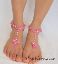 Pink Bridal Barefoot Sandals Beach Wedding Summer Knitted Floral Pattern Sandle