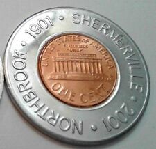 2001 NORTHBROOK ILLINOIS CENTENNIAL 1901 SHERMERVILLE Luck Cent ENCASED PENNY