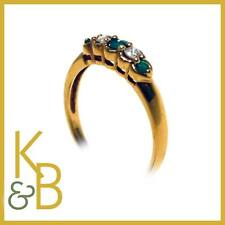 Ladies 18ct Gold 5 Stone Diamond and Jade Dress Ring SIZE N 1/2 46036 SALE!!!