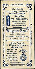 ROMANIA HUNGARY ADVERTISING TEMESVÁR jeweller WIEGNER ERNŐ bijutier/ékszerész