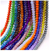 100Pcs 3mm/4mm/6mm/8mm/10mm Rondelle Faceted Crystal Glass Spacer Loose Beads