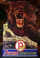 Repro Peters Ammunition with Grizzly Standing Advertising Die Cut