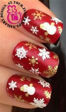 CHRISTMAS SNOW FLAKES SNOWMEN NAIL ART  DECALS STICKERS WHITE GOLD GLITTER #826