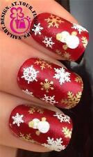 CHRISTMAS SNOW FLAKES SNOWMEN NAIL ART  DECALS STICKERS WHITE GOLD GLITTER #826