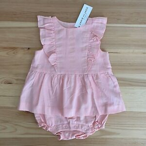 NWT JANIE AND JACK Jungle Story Pink/Gold Stripe Dress Romper Size 6-12 Months