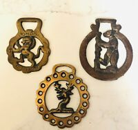 3 VTG 70s Brass Horse Harness Medallions~Warwick Bear/Hart Stag/London Red Lion