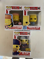 Funko Pop! the Simpsons Exclusive Set OTTO MANN, MR.PLOW And Gangster Bart