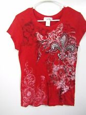 TWISTED JUNIORS SIZE LARGE 11-13 TANGO RED dress Blouse COTTON FLORAL BLING