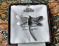 VINTAGE ART NOUVEAU STYLE STERLING SILVER AGATE DRAGONFLY BROOCH PIN SCOTTISH