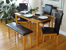 5 Pcs Dining Kitchen Set Rectangular Table 3 Fallabella Chairs Bench Maple