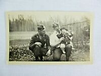 Vintage Black & White Snapshot Soldier Crying Baby Uniform B&W Photograph